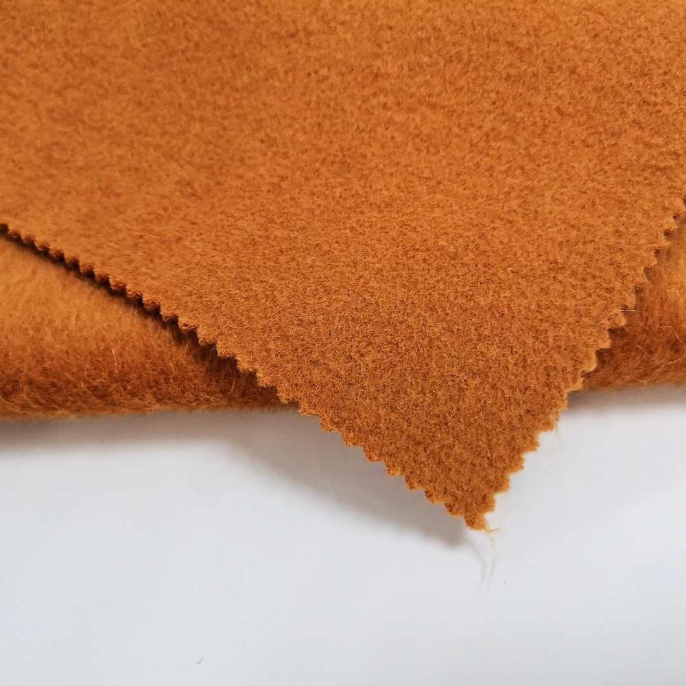 Высококачественная шерстяная ткань Альпака с двойным лицом, чистый оранжевый цвет для одежды