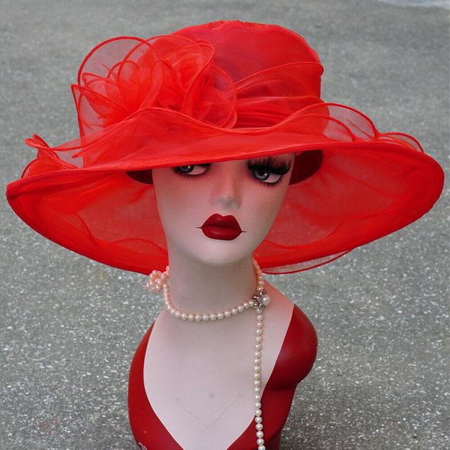 Spring Mesh Ruffles Flower Women Kentucky Derby Wide Brim Wedding Church Hat Sun Hat