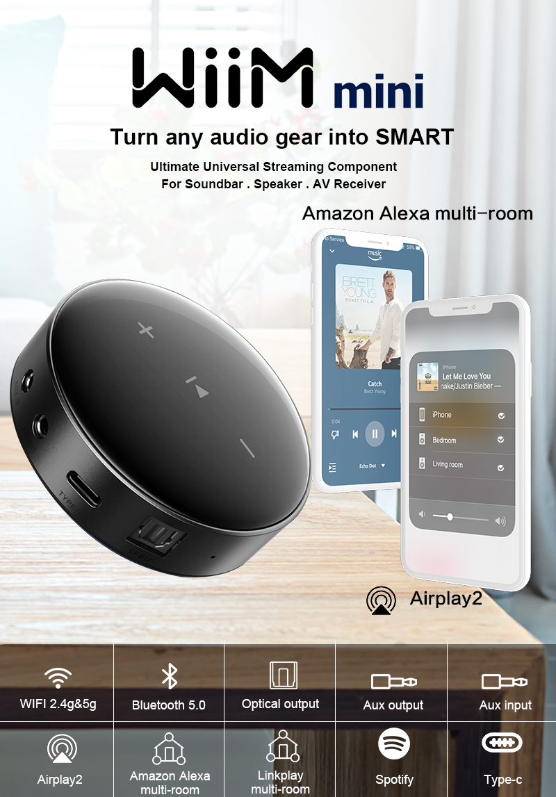 Newest Linkplay Airplay 2 DLNA Audio Music Streaming Receiver With WiFi 2.4G&5G / BT / Optical / AUX