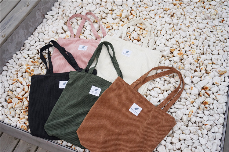 15Year Factory Simple Style Custom Logo Soft Foldable Brown Girl Used Velvet Canvas Cotton Tote Bag