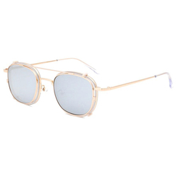 2021 Italian Design High End Stylish Metal Acetate Custom Sunglasses Square Round Frame Clip On Glasses with Polarized Lenses