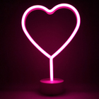 Pink Love Neon Sign - Heart Shaped Led Night Light with Stand Base Battery Powered/USB for Aesthetic Indie Room Decor