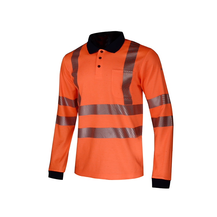 Outdoor Long Sleeve Hi Vis Promotion Men's Reflective Uniform Workwear Striped Polo Shirt - KingCare | KingCare.net