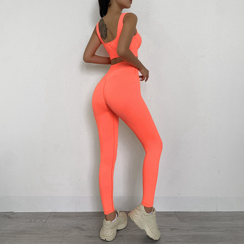 Wholesale New two piece ribbed seamless set ribbed seamless leggings and ribbed seamless bra