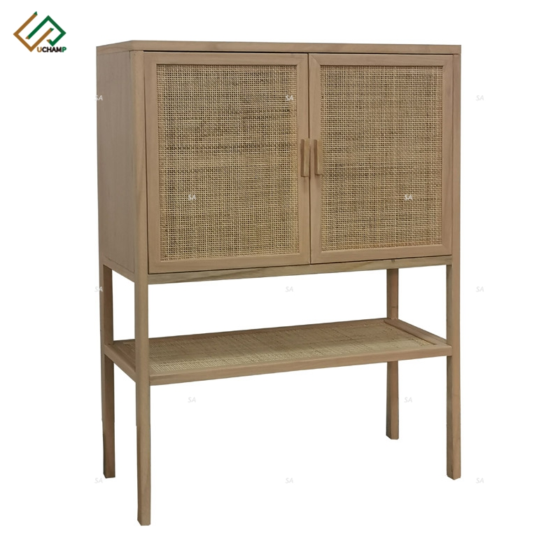 Natural Wood Rattan Furniture Sideboard Buffet Cabinet with Storage