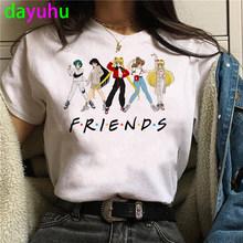 Женская забавная футболка в стиле Харадзюку с изображением моряка Луны и кота, модная футболка Kawaii Graphic Ullzang, женская футболка 90s(China)