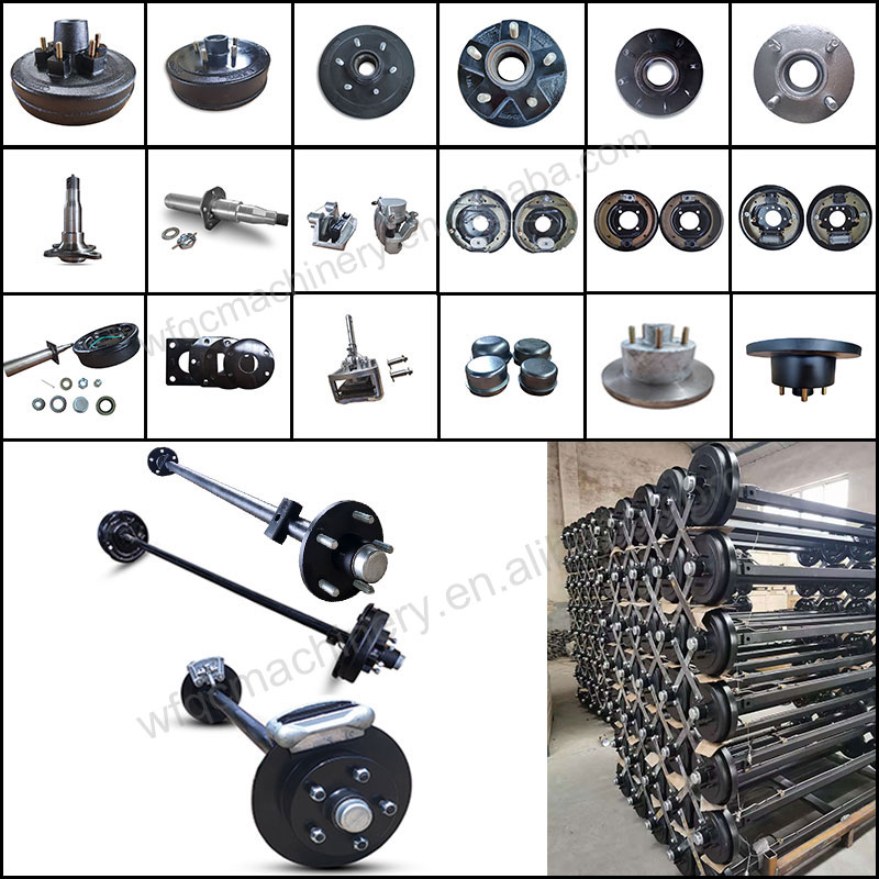 Light Duty Trailer Non-braked Hub Axle Complete with 45 / 50 mm Shaft