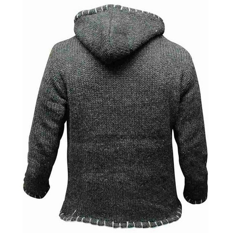 Popular Men Fashion Contrast Knit  Long Sleeve Hooded Sweater Clothes