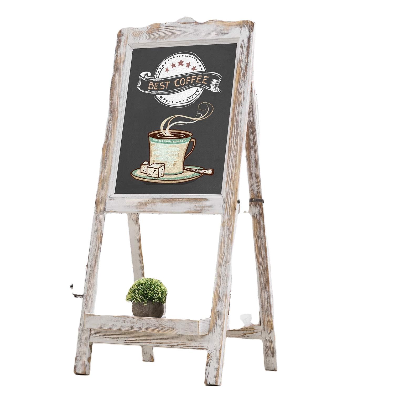 Shabby Whitewashed Wood Easel Chalkboard Sign with Decorative Shelf - Yola WhiteBoard | szyola.net