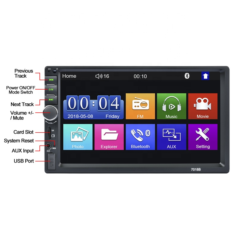 7inch HD LCD Touch Screen BT 2din Audio Car Stereo 7018B 7 Inch 2 Din Car Radio MP5 Video Player with Rear View Camera