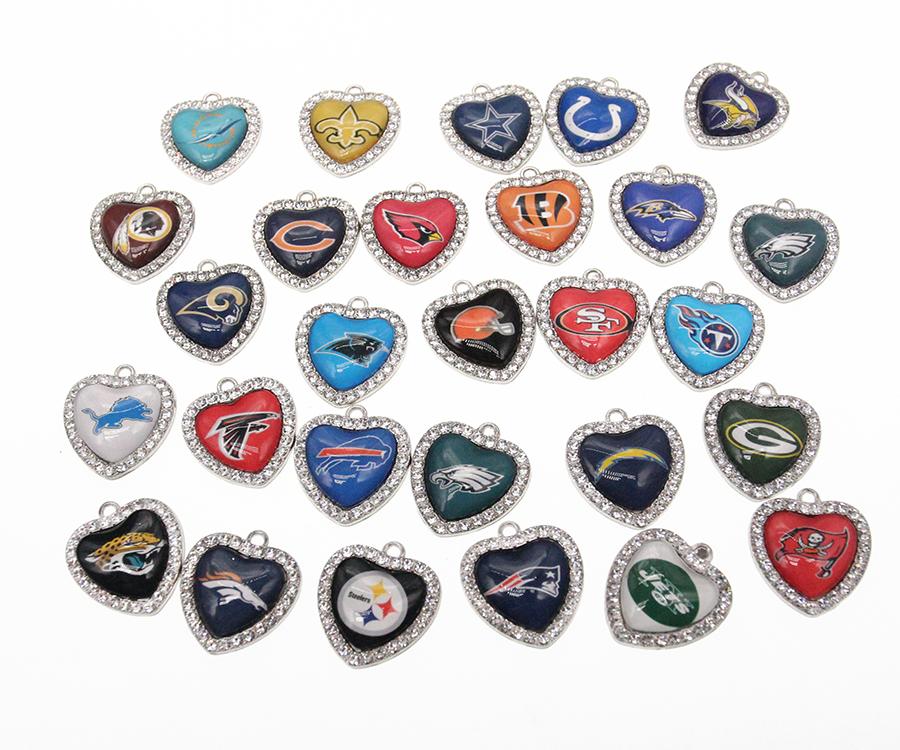 Новое поступление, 32 дизайна, подвеска в виде сердца со стразами в виде американского футбола, подвески для ожерелья, аксессуары