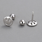 Silver Earrings Silver 925 Sterling Silver Hollow Out Smiling Face Stud Earrings No Ear Plugs Screw Piercing Jewelry Personality Platinum Plated