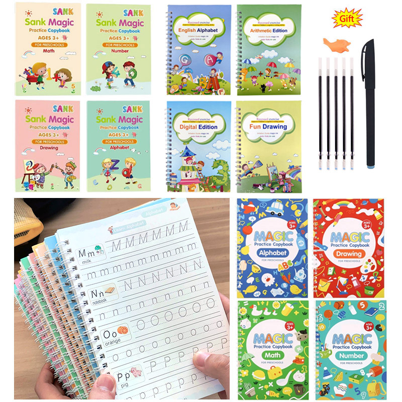 Alphabet Drawing Math Number Reusable Handwriting Free Wiping Calligraphy Magic Practice book for Kids
