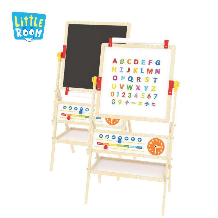 Двухсторонняя альбом для рисования с регулировкой по высоте, магнитный деревянный художественный мольберт детская чертежная доска для рисования
