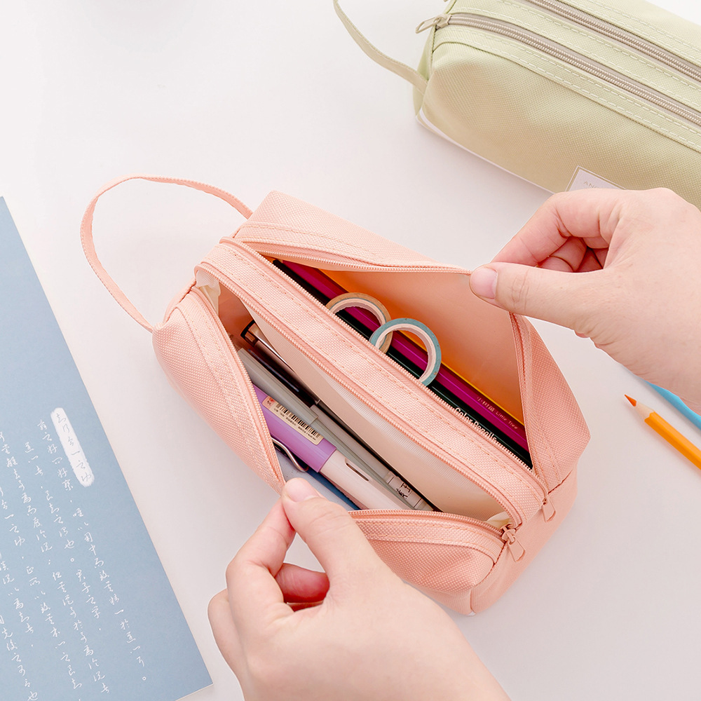 Fabric Cloth Pencil Bags for School Students Pencil Case Stationery Bag Zipper Pouch Double Pockets Factory