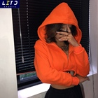 Ladies Hoodie Cropped Hoodie Woman Ladies Bag Belt Orange Short Hoodie Zipper Crop Hoodie Women