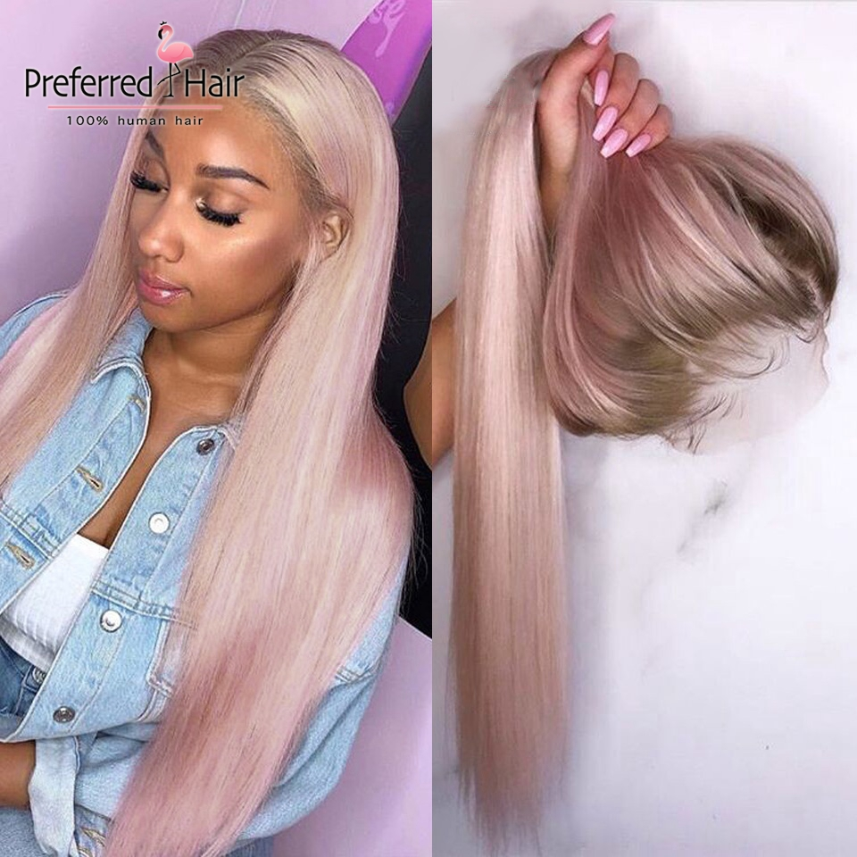 Предпочтительный Омбре розовый парик из человеческих волос Фиолетовый прямой кружевной передний парик с волосами младенца бразильские Remy ...(Китай)