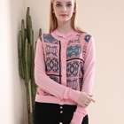 Winter Coats Winter Coats For Ladies Knitted Pink Printed 100% Silk With 100% Polyester Long Sleeve Elegant Casual Coats