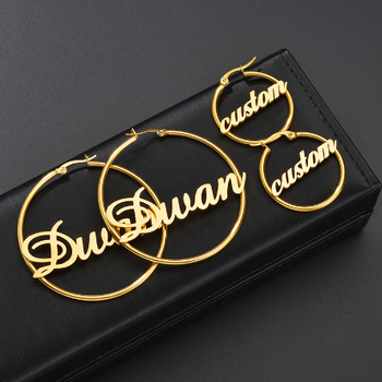 Hip Hoop Earrings Stainless Steel Personalized Name Gold Earrings Design for Women and Girls
