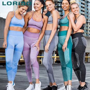 2020 women two piece set ladies quick dry seamless sportswear running training sports gym apparel