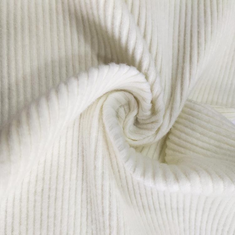 Rib rnit brushed 4*4 rib fabric 93% cotton 7% spandex fabric solid knit rib fabric for joggers for women