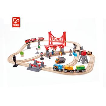 Train Track Set Toys Educational Wooden Slot Train Car Railway Toys For Kids