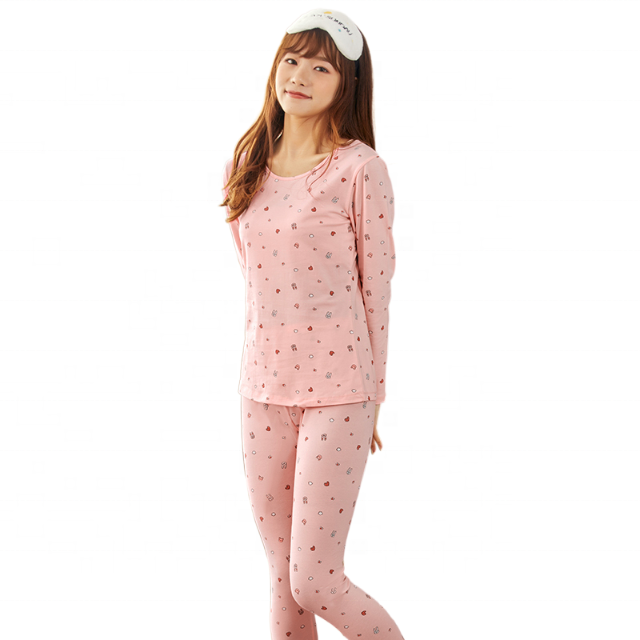 Dropshipping woman's lingerie Close fitting elasticity Round neck long sleeve trousers suit Print thermal underwear