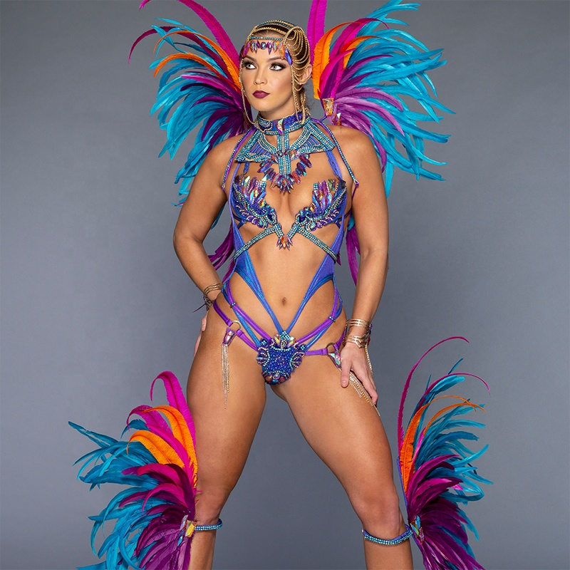 wholesale sexy simple carnival costume for women wear feather backpack