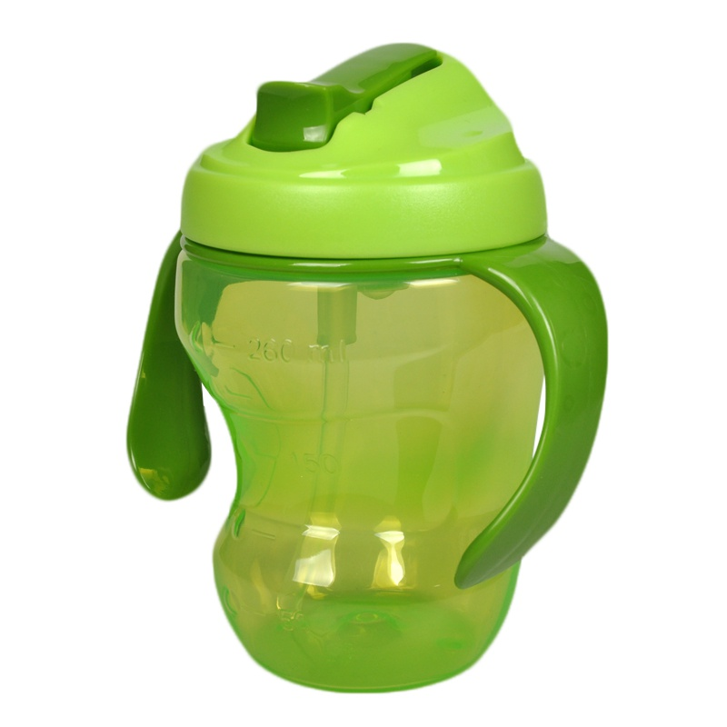 China Manufactures Plastic 260ml Baby Learn Drink Bottle Feeding Water Sippy Cup With Silicone Straw and Handle