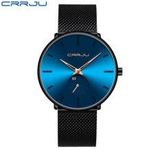 CRRJU модные мужские часы, водонепроницаемые тонкие сетчатые минималистичные наручные часы для мужчин, Кварцевые спортивные часы, часы, мужск...(China)