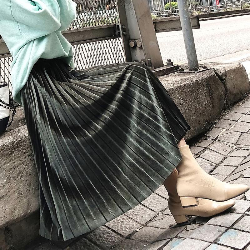 Юбка женская плиссированная однотонная, модная эластичная средней длины с завышенной талией, черная розовая, на весну-осень