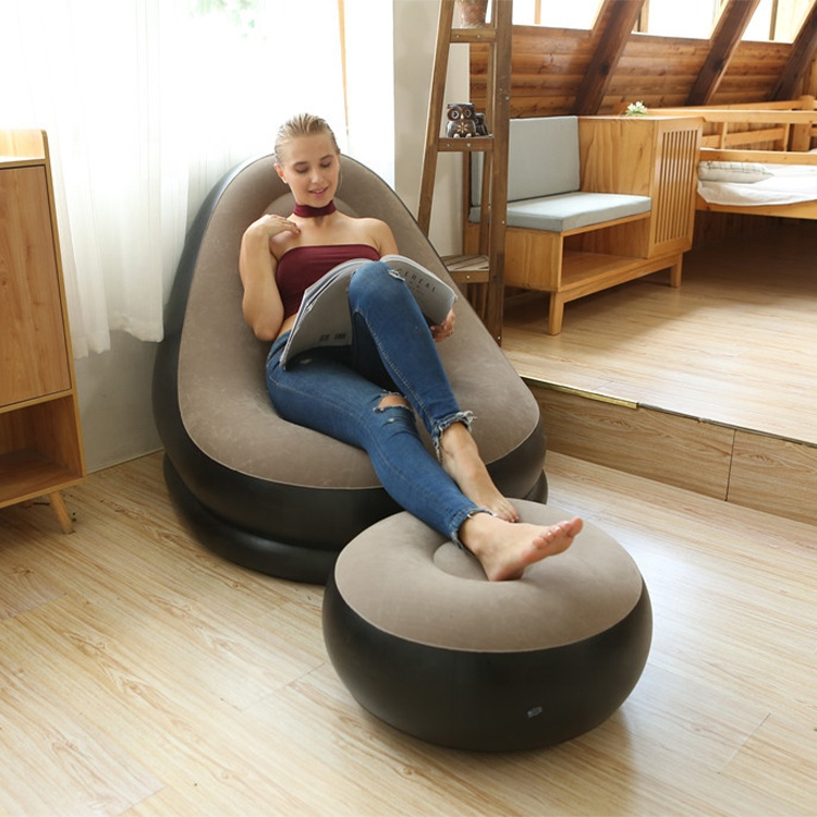 Hotel Furniture Waterproof Foldable Lounge Single Air Lazy Relaxing Chair Living Room Inflatable Sofa Chair Sofa Cum Bed