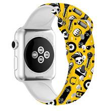 Ремешок для часов Apple Watch, силиконовый сменный ремешок с цветным рисунком для Apple Watch, 42 мм, 38 мм, с Микки Маусом для Apple Watch Band 5, 4, 40, 44 мм(Китай)