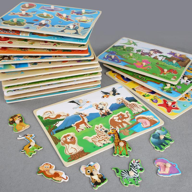 Деревянная головоломка-пазл, Когнитивная доска для захвата рук, развивающая и обучающая игрушка для детей