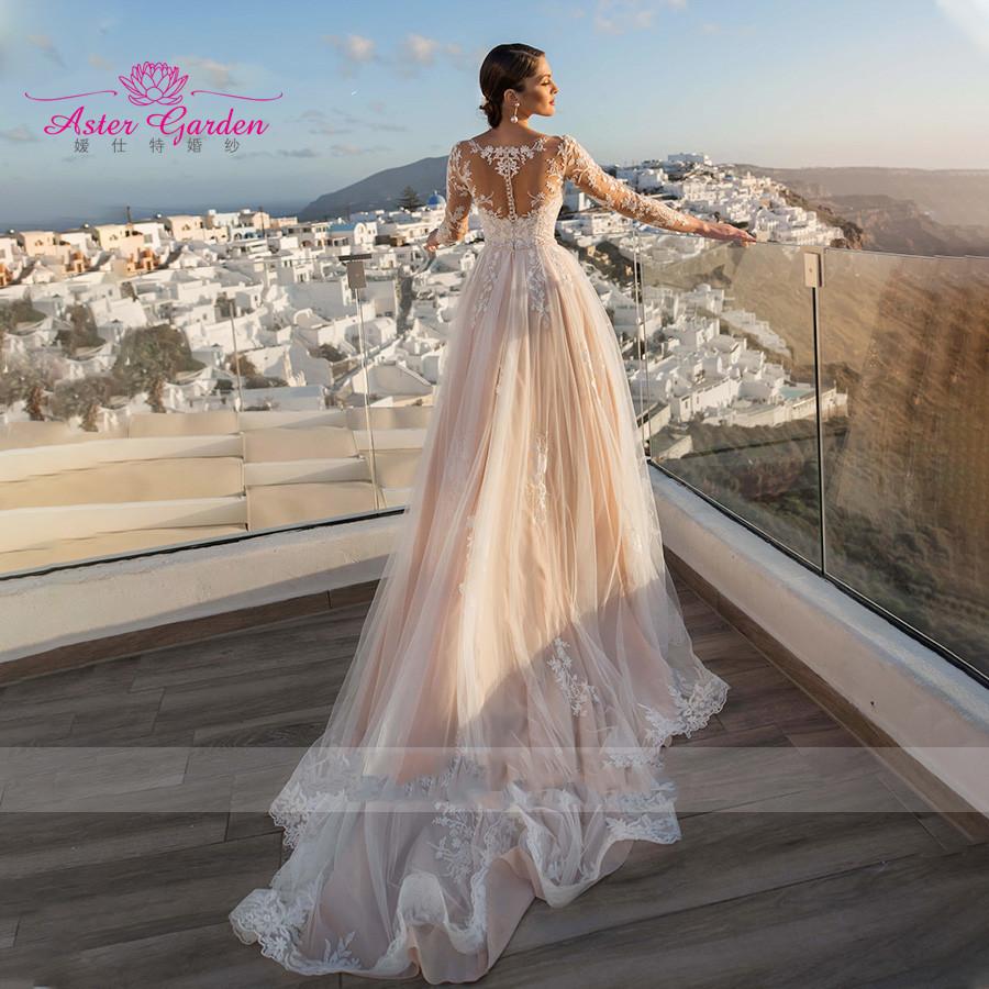 Женское свадебное платье с юбкой годе Aster, пляжное платье невесты со съемным шлейфом, бисером, длинным рукавом, аппликацией сердечком, 2021