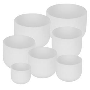 7pcs of A-B-C-D-E-F-D-G  Chakra Bowl Set Frosted White Crystal Quartz Singing Bowl Set 6