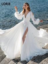 LORIE Белые пляжные шифоновые Свадебные платья с длинным пышным рукавом, v-образным вырезом и высоким разрезом, свадебные платья с открытой сп...(China)