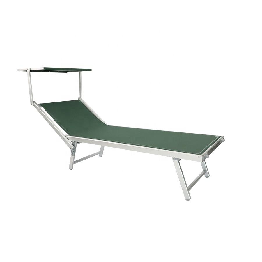 Уличная алюминиевая складная Солнцезащитная пляжная кровать, Солнцезащитный отдых с навесом, регулируемый задний упор с солнцезащитным козырьком
