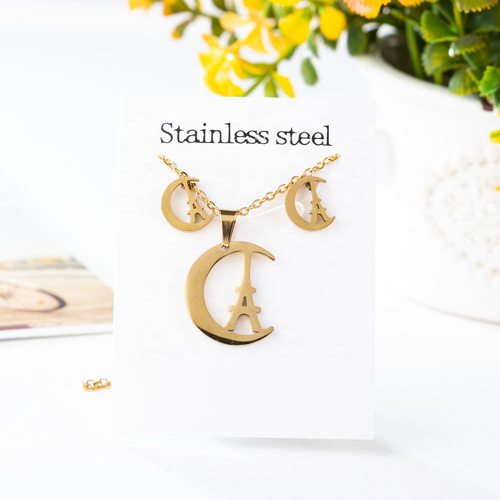New Gold Plated Butterfly Heart Necklace Earrings for Women Girl Various Styles Stainless Steel ecg windmill Jewelry Set Gift