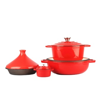 Wholesale high quality home kitchen Nonstick enameled cast iron cookware sets