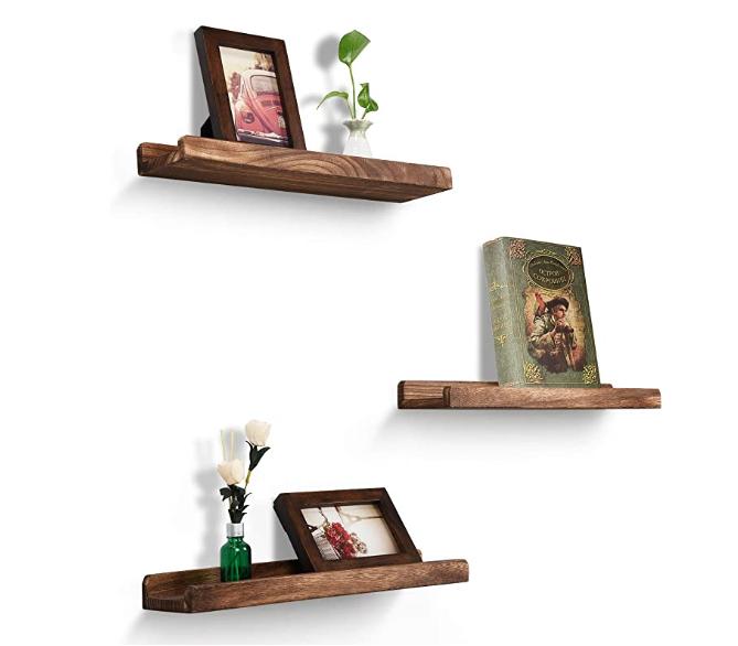 Набор 3 ящиков для хранения дисплей деревянная деревенская Плавающий Полка изображения выступ