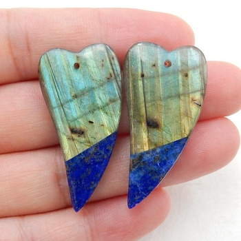 Shining Green Color Labradorite Inlay Blue Lapis Lazuli Heart Earring Pendants Gemstone Pair For Wholesale, 36x18x5mm, 10.2g