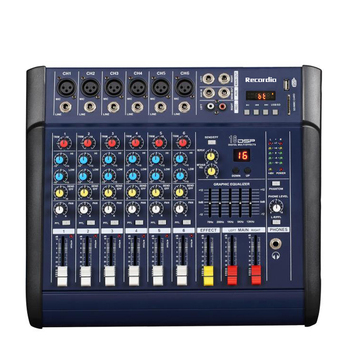 GAX-602D 48V Phantom Power Mixer USB 6 Channel Amplifier DJ Karaoke Audio Mixer Support USB Memory Card for Performance Family