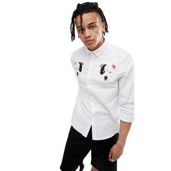 KY smart casual dog embroidery white Button placket collar men dress shirt slim fit