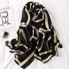 Manufacturers 2020 custom ladies luxury soft black color letter printed hijabs shawls cotton viscose scarves large long scarf
