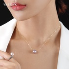 Pearl Necklace Necklace Simplicity Design 18K Gold 10-11 Pearl Topping Pearl Precious Mount Pendant Necklace Jewelry Gift