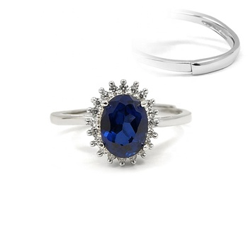 RZ6-0004 925 Silver Jewelry Ring CZ Stone Sapphire Oval Adjustable Sterling Silver Ring