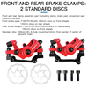 Front And Rear Brake Clamps+2 Standard Discs Red