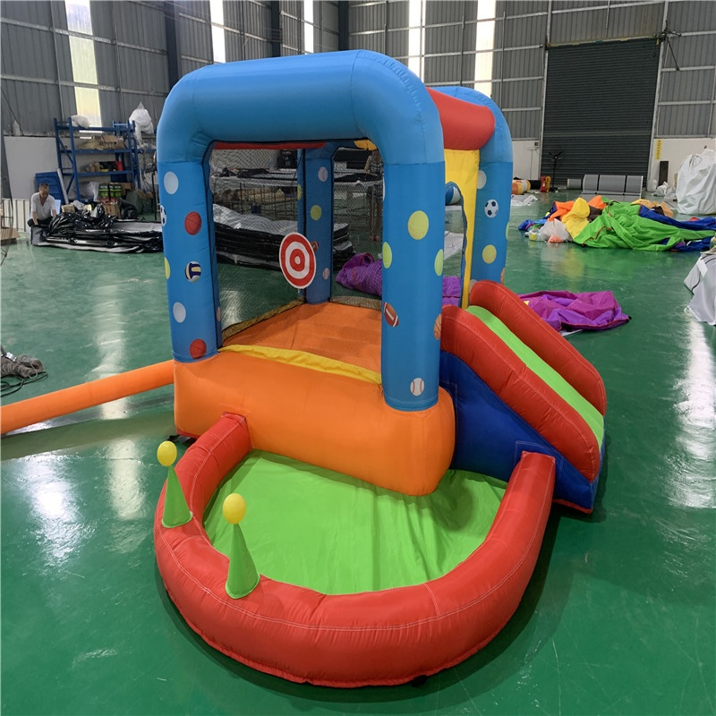 Home use air bounce house slide combo with basketball hoop water sea balls sport game inflatable bouncer slide pool for kids