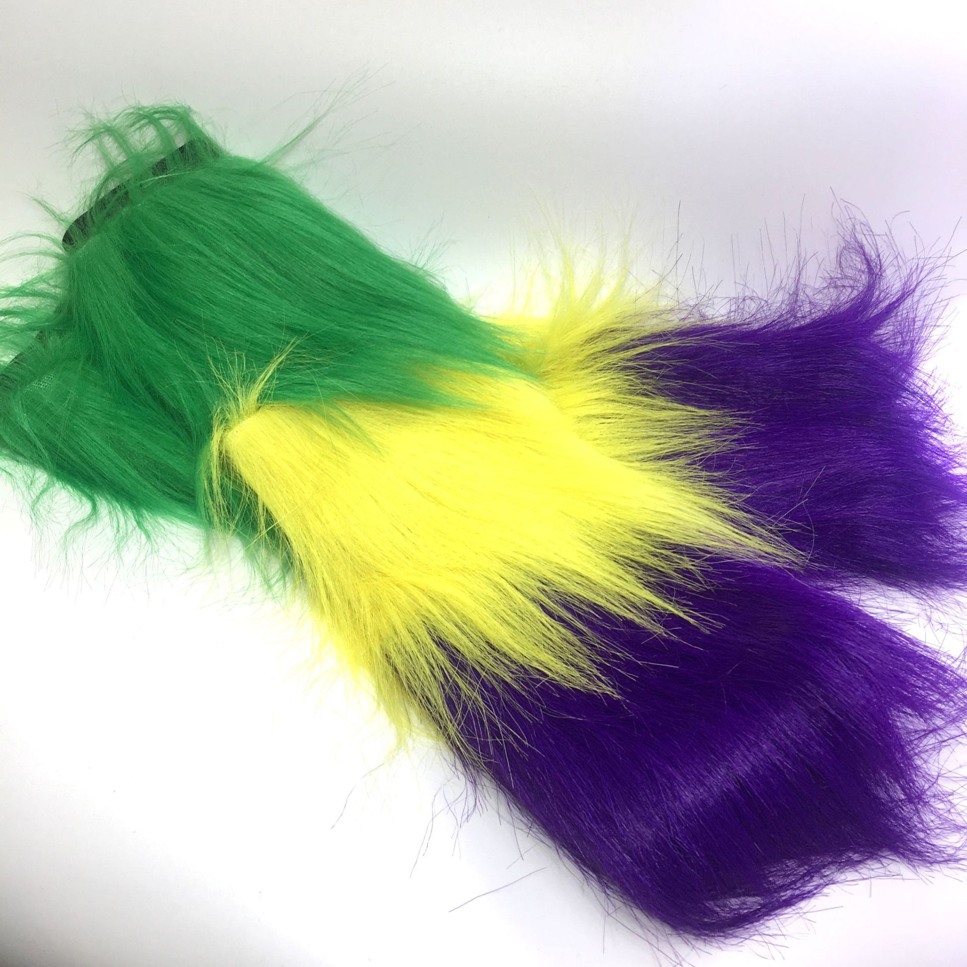 New Orleans long push women boot socks green/yellow/purple push leg sets mardi gras furry footless leg warmer socks